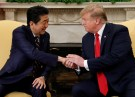 U.S. President Donald Trump meets with Japan's Prime Minister Shinzo Abe in the Oval Office at the White House in Washington, U.S., April 26, 2019. REUTERS/Kevin Lamarque - RC197ADEC1E0