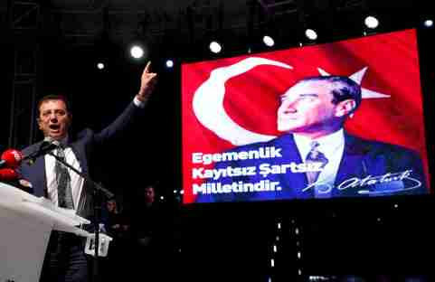 Ekrem Imamoglu of the main opposition Republican People's Party (CHP), who was elected mayor after the March 31 elections, addresses his supporters after the High Election Board (YSK) decided to re-run the mayoral election, in Istanbul, Turkey, May 6, 2019. REUTERS/Murad Sezer - RC1A237C6860