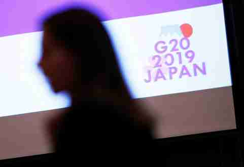 The logo of G20 Summit and Ministerial Meetings is displayed at the G20 Finance and Central Bank Deputies Meeting in Tokyo, Japan January 17, 2019.    REUTERS/Issei Kato - RC1230C545B0