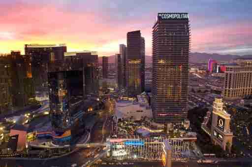The Cosmopolitan of Las Vegas (R) is shown at sunset in Las Vegas, Nevada December 14, 2010.