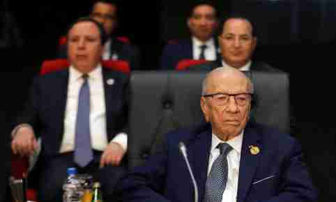 Tunisian President Beji Caid Essebsi attends a summit between Arab league and European Union member states, in the Red Sea resort of Sharm el-Sheikh, Egypt, February 24, 2019. REUTERS/Mohamed Abd El Ghany - RC1131697370