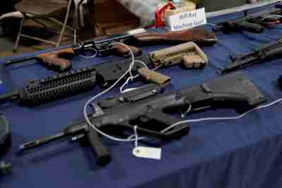 Fully automatic machine guns are displayed for sale at the Guntoberfest gun show in Oaks, Pennsylvania, U.S., October 6, 2017. REUTERS/Joshua Roberts - RC17126603C0