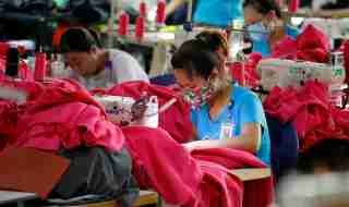 Women work at a garment factory in Thai Binh province, Vietnam.