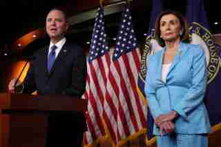 U.S. House Intelligence Committee Chairman Adam Schiff (D-CA) joins Speaker of the House Nancy Pelosi to speak about Democratic legislative priorities and impeachment inquiry plans during her weekly news conference at the U.S. Capitol in Washington, U.S., October 2, 2019. REUTERS/Jonathan Ernst - RC198FE9B500