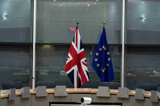British Union Jack and EU flags are pictured before the meeting with Britain's Brexit Secretary Stephen Barclay and European Union's chief Brexit negotiator Michel Barnier at the EU Commission headquarters in Brussels, Belgium, September 20, 2019.   Kenzo Tribouillard/Pool via REUTERS - RC11CD6EA940