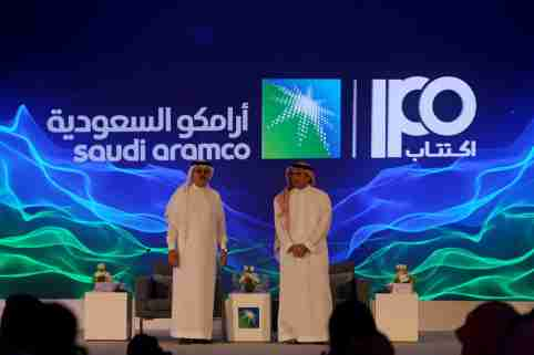Yasser al-Rumayyan, Saudi Aramco's chairman, and Amin H. Nasser, president and CEO of Aramco, attend a news conference at the Plaza Conference Center in Dhahran, Saudi Arabia November 3, 2019. REUTERS/Hamad I Mohammed - RC14A8AB6F00