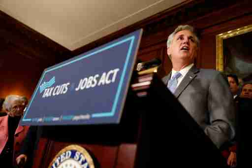 "House Majority Leader Rep. Kevin McCarthy (R-CA) speaks at news conference announcing the passage of the ""Tax Cuts and Jobs Act"" at the U.S. Capitol in Washington, U.S., November 16, 2017. REUTERS/Aaron P. Bernstein"