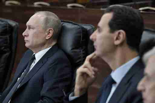 Russian President Vladimir Putin and Syrian President Bashar al-Assad attend a meeting in Damascus, Syria January 7, 2020. Picture taken January 7, 2020. Sputnik/Aleksey Nikolskyi/Kremlin via REUTERS  ATTENTION EDITORS - THIS IMAGE WAS PROVIDED BY A THIRD PARTY.