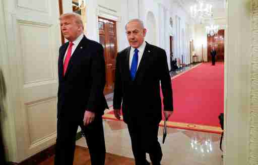 U.S. President Donald Trump and Israel's Prime Minister Benjamin Netanyahu arrive at a joint news conference to discuss a new Middle East peace plan proposal in the East Room of the White House in Washington, U.S., January 28, 2020. REUTERS/Joshua Roberts