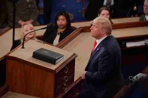 Feb 4, 2020; Washington, DC, USA;  President Donald J. Trump delivers the State of the Union address from the House chamber of the United States Capitol in Washington. Mandatory Credit: Jack Gruber-USA TODAY
