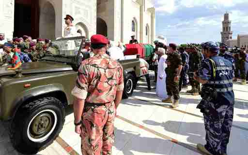The coffin of late Sultan Qaboos bin Said is fixed to a vehicle during the funeral procession in Muscat, Oman January 11, 2020.  REUTERS/Sultan Al Hasani - RC2NDE9373RG