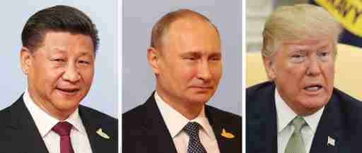 Undated file photos of (left to right) Chinese President Xi Jinping, Russia's Vladimir Putin and Donald Trump of the US who have topped the world's most powerful people annual list produced by business magazine Forbes.
