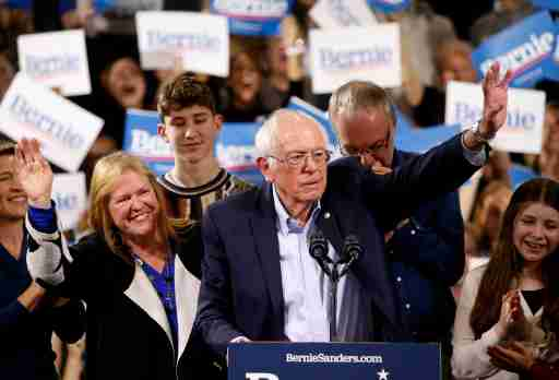 Democratic U.S. presidential candidate Senator Bernie Sanders is accompanied by his relatives, including his wife Jane, as he addresses supporters at his Super Tuesday night rally in Essex Junction, Vermont, U.S., March 3, 2020. REUTERS/Caitlin Ochs