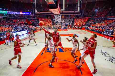 Mar 1, 2020; Champaign, Illinois, USA; Indiana Hoosiers guard Al Durham (1) shoots against the Illinois Fighting Illini during the first half at State Farm Center. Mandatory Credit: Patrick Gorski-USA TODAY Sports