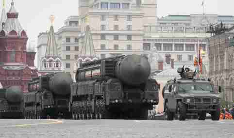 Russian servicemen drive Yars RS-24 intercontinental ballistic missile systems during the Victory Day parade, which marks the anniversary of the victory over Nazi Germany in World War Two, in Red Square in central Moscow, Russia May 9, 2019. REUTERS/Shamil Zhumatov