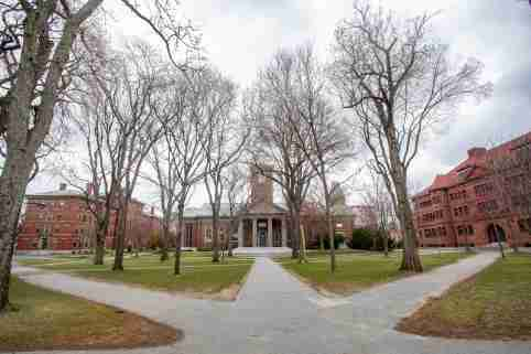 March 25, 2020, Harvard College, Cambridge, Massachusetts, USA: Empty Harvard Yard in Cambridge, MA.  Harvard University President Lawrence S. Bacow annouced that he and his wife have tested positive for the coronavirus on Tuesday on March 24.  Harvard University closed its campus earlier in March. No Use China. No Use Taiwan. No Use Korea. No Use Japan.
