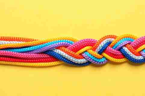 Multi-colored, braided rope on a yellow background.