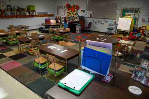 The kindergarten classroom of Emily Williams sits idle, left for over two months after schools closed down on March 12th at Minglewood Elementary School in Clarksville, Tenn., on Thursday, May 14, 2020.Hpt Minglewood Clearing Out 15