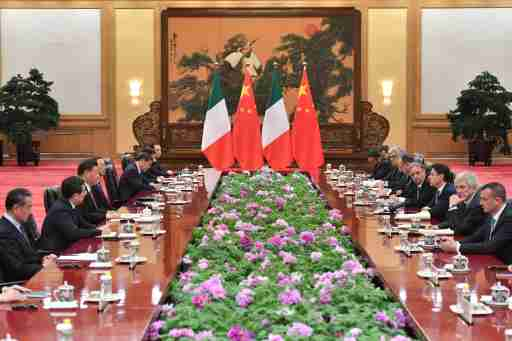 Italian Prime Minister Giuseppe Conte attends a meeting with Chinese President Xi Jinping at the Great Hall of the People in Beijing, China, April 27, 2019. ParkerSong/Pool via REUTERS