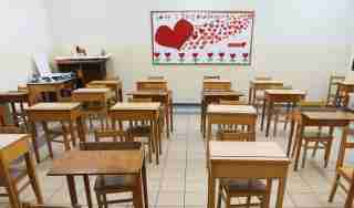 A view of an empty classroom at a school, as Lebanon's education system is in limbo with multiple challenges, in Beirut, Lebanon, June 8, 2020. Picture taken June 8, 2020. REUTERS/Mohamed Azakir