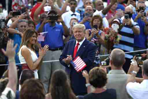 U.S. President Donald Trump and First Lady Melania Trump greet guests at the 2020 Salute to America on the South Lawn of the White House in Washington on July 4, 2020. Photo by Yuri Gripas/ABACAPRESS.COM