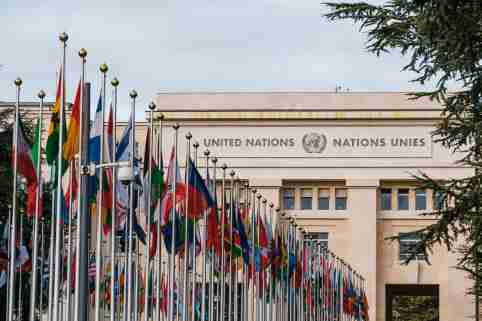 Front of the headquarters of the United Nations Office in Geneva. Geneva, Switzerland, March 04, 2020.Facade du siege de l office des Nations Unis de Geneve. Geneve, 4 Mars 2020.NO USE FRANCE