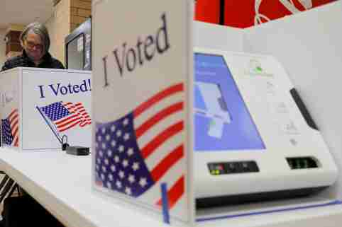 A woman casts her ballot at a polling station for the South Carolina primary in Indian Land, South Carolina, U.S., February 29, 2020.  REUTERS/Lucas Jackson
