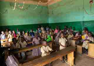 African children in a koranic school classroom, Tonkpi Region, Man, Ivory Coast.NO USE FRANCE