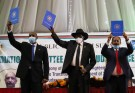 Sudan's Sovereign Council Chief General Abdel Fattah al-Burhan, South Sudan's President Salva Kiir, and Sudan's Prime Minister Abdalla Hamdok lift copies of a sealed assent agreement with a country's 5 pivotal insurgent groups, a poignant step towards solution habitual conflicts that raged underneath former personality Omar al-Bashir, in Juba, South Sudan Aug 31, 2020. REUTERS/Samir Bol