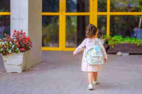 Girls walking toward school