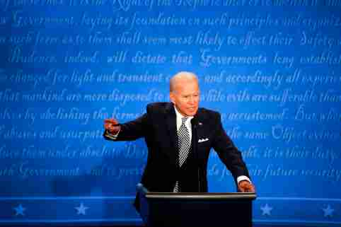 Sep 29, 2020; Cleveland, OH, USA; Democratic presidential candidate, former Vice President Joe Biden debates President Donald Trump in the first Presidential debate in the Sheila and Eric Samson Pavilion at the Cleveland Clinic, Tuesday, Sept. 29, 2020, in Cleveland. Mandatory Credit: Meg Vogel/Cincinnati Enquirer via USA TODAY NETWORK