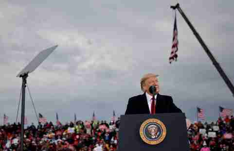 U.S. President Donald Trump speaks during a campaign rally at Muskegon County Airport in Muskegon, Michigan U.S., October 17, 2020. REUTERS/Carlos Barria
