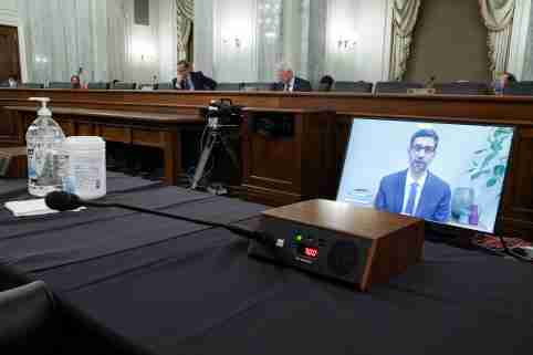 CEO of Google and Alphabet Sundar Pichai testifies remotely during the Senate Commerce, Science, and Transportation Committee hearing 'Does Section 230's Sweeping Immunity Enable Big Tech Bad Behavior?', on Capitol Hill in Washington, DC, U.S., October 28, 2020. Greg Nash/Pool via REUTERS
