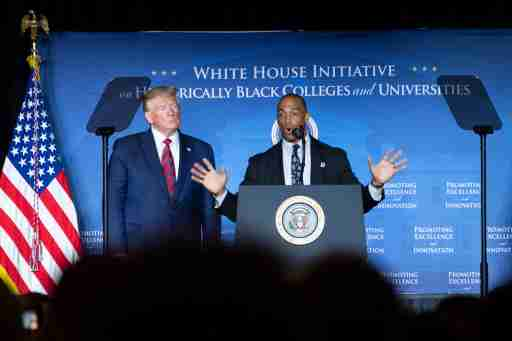 White House Opportunity and Revitalization Council Executive Director Scott Turner speaks alongside President Donald Trump at the 2019 National Historically Black Colleges and Universities Week Conference, in Washington, DC on Tuesday, September 10, 2019. Photo by Kevin Dietsch/Pool/ABACAPRESS.COM