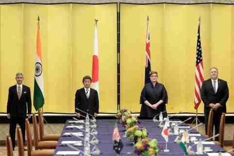 Indian Foreign Minister Subrahmanyam Jaishankar, Japan's Foreign Minister Toshimitsu Motegi, Australia's Foreign Minister Marise Payne and U.S. Secretary of State Mike Pompeo pose for a picture prior the Quad ministerial meeting in Tokyo, Japan October 6, 2020. Kiyoshi Ota/Pool via REUTERS - RC2XCJ9OPV0V