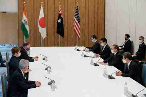 India's Foreign Minister Subrahmanyam Jaishankar, Japan's counterpart Toshimitsu Motegi, Japan's Prime Minister Yoshihide Suga, Australian Foreign Minister Marise Payne and U.S. Secretary of State Mike Pompeo attend the meeting at the prime miniter's office in Tokyo, Japan October 6, 2020.  Nicolas Datiche/Pool via REUTERS