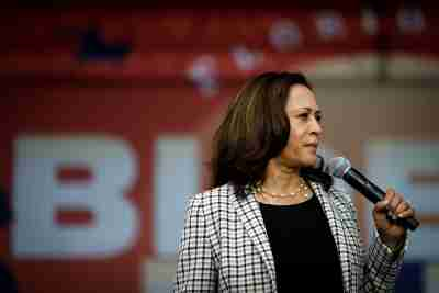 U.S. Democratic vice presidential nominee Senator Kamala Harris speaks during a drive-in campaign rally at Florida International University South Campus in Miami, Florida, U.S., October 31, 2020. REUTERS/Marco Bello