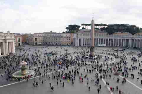 People stand at St Peter's Square as Pope Francis leads Angelus prayer from his window at the Vatican, November 16, 2020.   Vatican Media/?Handout via REUTERS    ATTENTION EDITORS - THIS IMAGE WAS PROVIDED BY A THIRD PARTY.