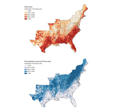 Geographic distribution of projected future hurricane losses from wind (top) and precipitation-induced flooding (bottom)