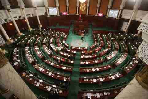 Plenary session devotes part of it to questioning the government about the country's situation and the protests in Tunis, Tunisia on January 20, 2021. The Assembly of the Representatives of the People, agenda includes holding a dialogue with the government about the general situation in the country after the protest movement in the country, in the presence of the Minister of Social Affairs, the Minister of Economy, Finance and Investment Support, and the Minister of National Defense who represents the Prime Minister. (Photo by Mohamed Krit/ SIPA USA)No Use Germany.