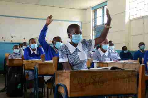 Pupils of  Kilimani Primary School attend class while wearing face masks following the full-reopening of schools in the country after the government closed all learning institutions due to COVID-19. (Photo by Dennis Sigwe / SOPA Images/Sipa USA)No Use UK. No Use Germany.