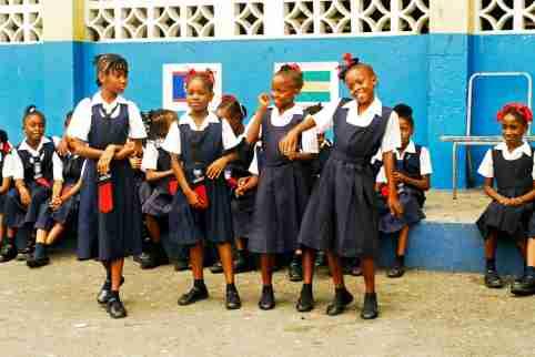 Jamaican students dance at school
