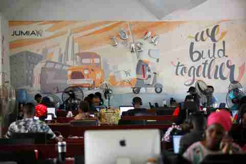People work on computers at the offices of online retailer Jumia in Nigeria's commercial capital, Lagos.