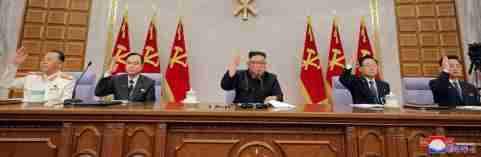 North Korean leader Kim Jong Un attends a plenary meeting of the Workers' Party in Pyongyang, North Korea, in this undated photo released on February 12, 2021, by North Korea's Korean Central News Agency (KCNA).  KCNA/via REUTERS. ATTENTION EDITORS - THIS IMAGE WAS PROVIDED BY A THIRD PARTY. REUTERS IS UNABLE TO INDEPENDENTLY VERIFY THIS IMAGE. NO THIRD PARTY SALES. SOUTH KOREA OUT.