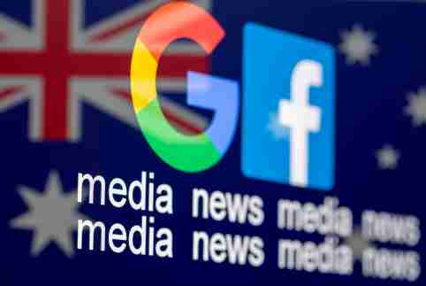 "The Google and Facebook logos are displayed over the flag of Australia along with the words ""media news."""