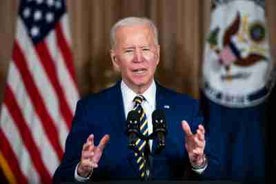 US President Joe Biden makes a foreign policy speech at the State Department in Washington, DC, USA, 04 February 2021.Biden announced that he is ending US support for the Saudi's offensive operations in Yemen.No Use Germany.