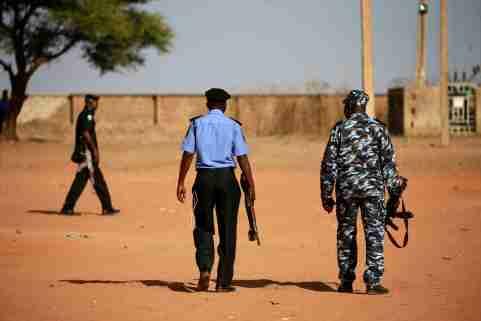 Police patrol inside the Government Science school in Kankara, in northwestern Katsina state, Nigeria December 13, 2020. Picture taken December 13, 2020. REUTERS/Afolabi Sotunde