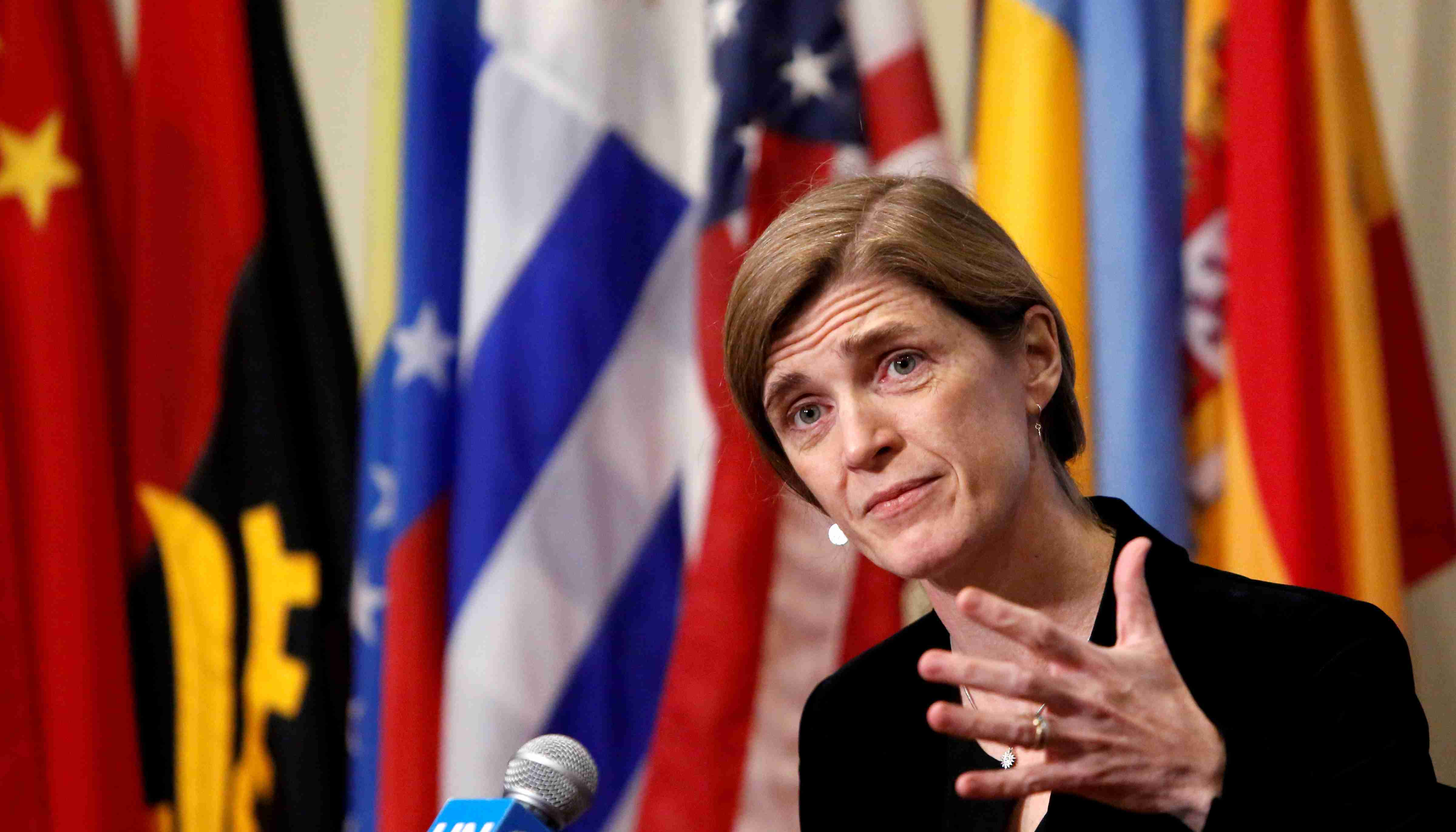 FILE PHOTO: Then-U.S. Ambassador to the United Nations Samantha Power addresses media at the United Nations in Manhattan, New York City, U.S., December 19, 2016. REUTERS/Andrew Kelly/File Photo