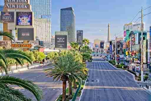 Las Vegas, NV, April 23, 2020: View of empty, eerie Las Vegas Strip during the coronavirus pandemic lock-down.