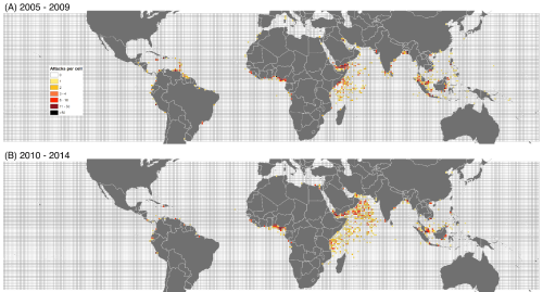 Geographic distribution of pirate incidents